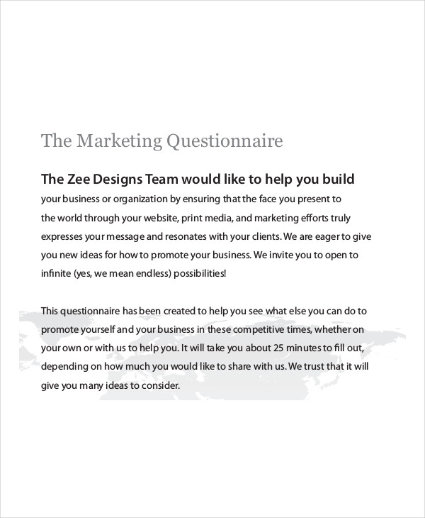 Marketing Questionnaire Examples Samples
