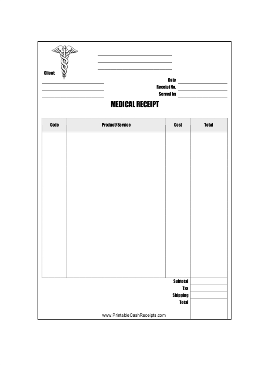 sample medical receipt