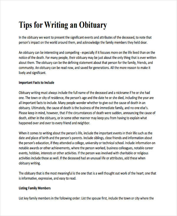 Obituary Writing Examples Samples
