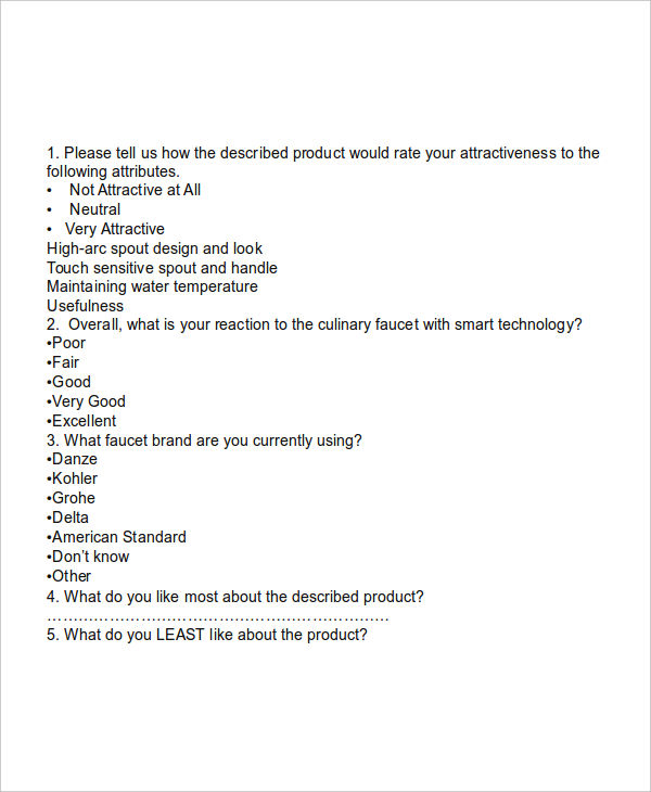 6+ Product Questionnaire Examples, Samples