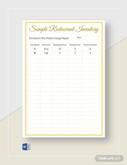 sample restaurant inventory template