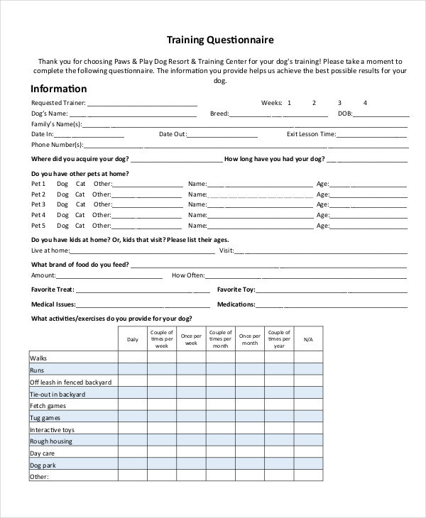 sample training questionnaire