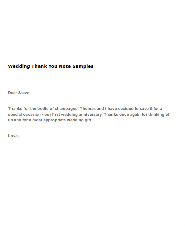 Wedding ThankYou Note Examples  Samples