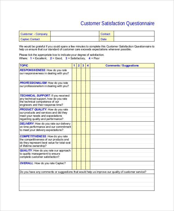 6  product questionnaire examples  samples