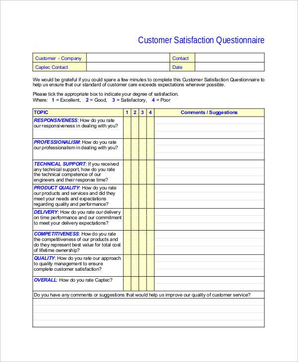 satisfaction questionnaire