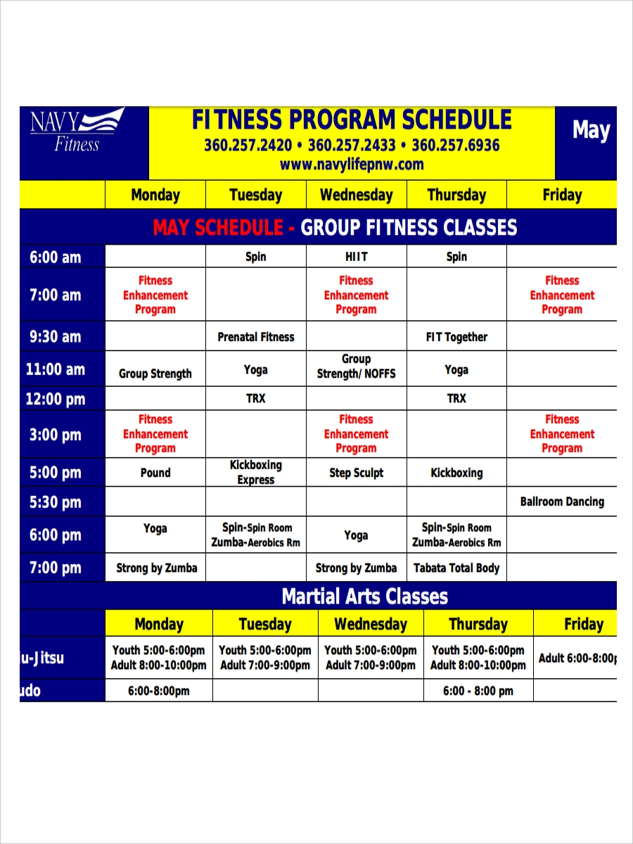 schedule for fitness program