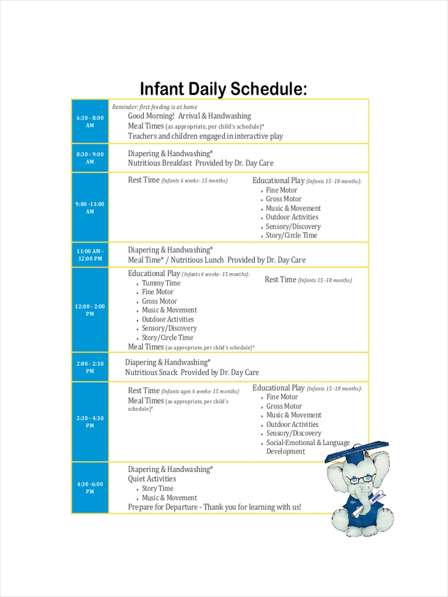 schedule for infant daycare