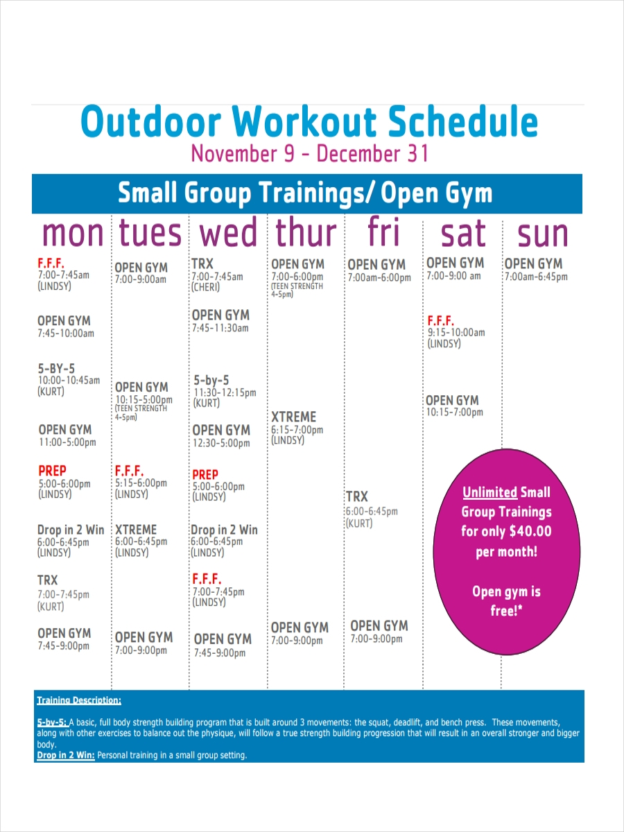schedule for outdoor workout