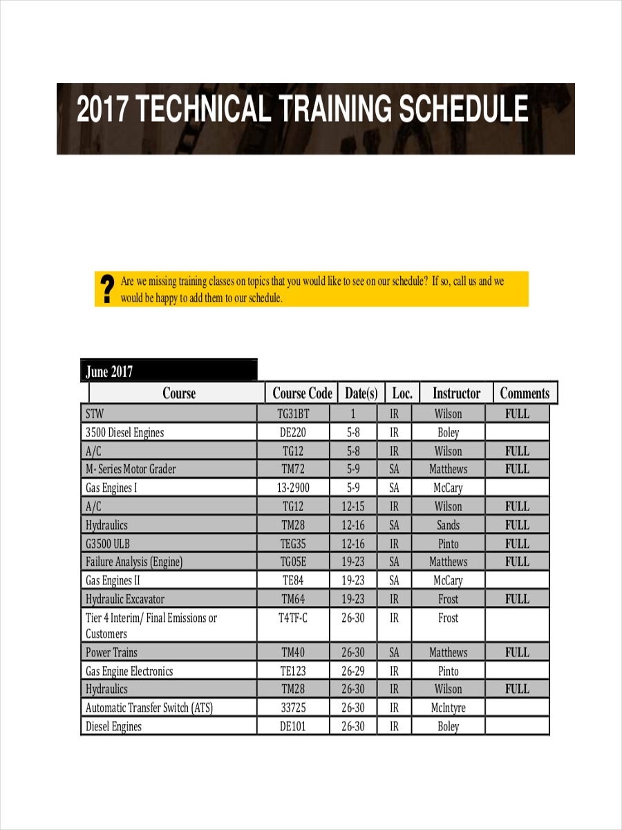 schedule for technical training