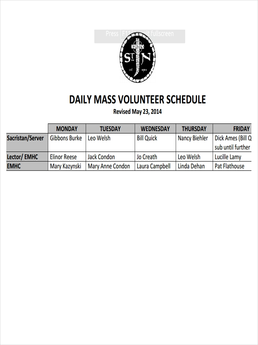 schedule for volunteer daily