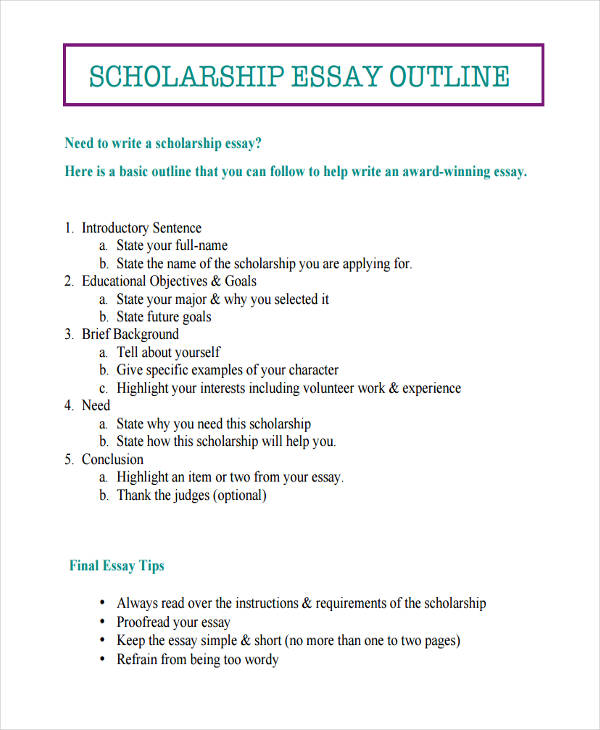 Sample Essay Outlines  Doc Pdf  Examples Scholarship Outline