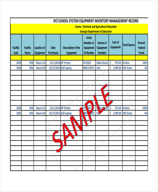 Free 6 School Inventory Examples Amp Samples In Pdf Xls