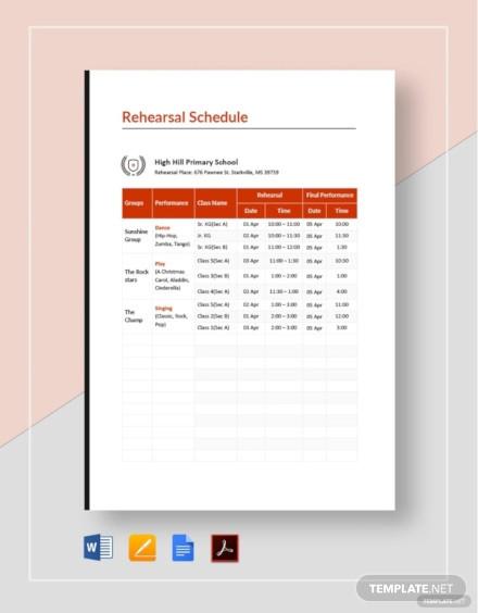 school rehearsal schedule template1