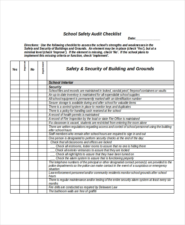 cctv checklist template - school workplace safety checklist