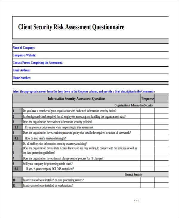 9 examples of risk assessment questionnaires for Investor questionnaire template