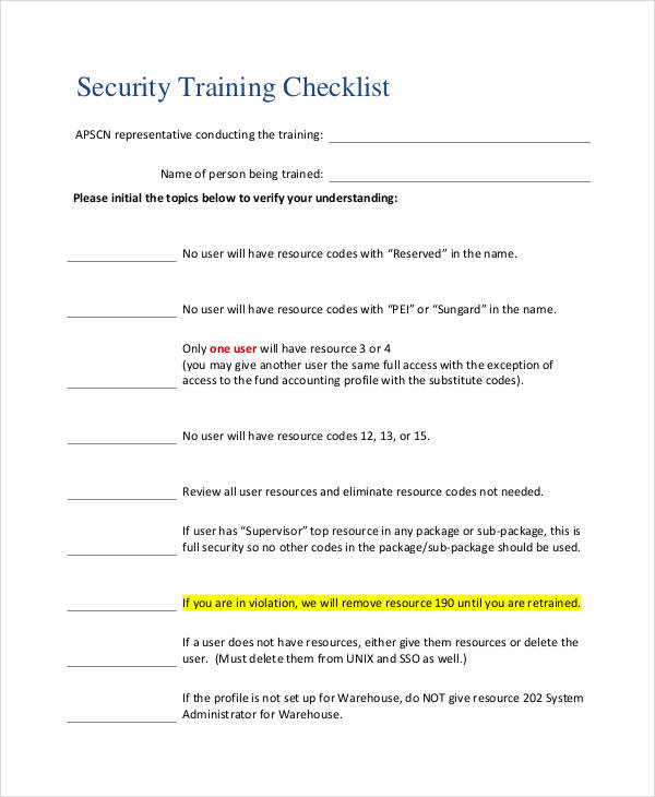 security training sample