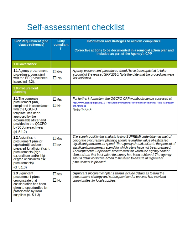 self assessment example