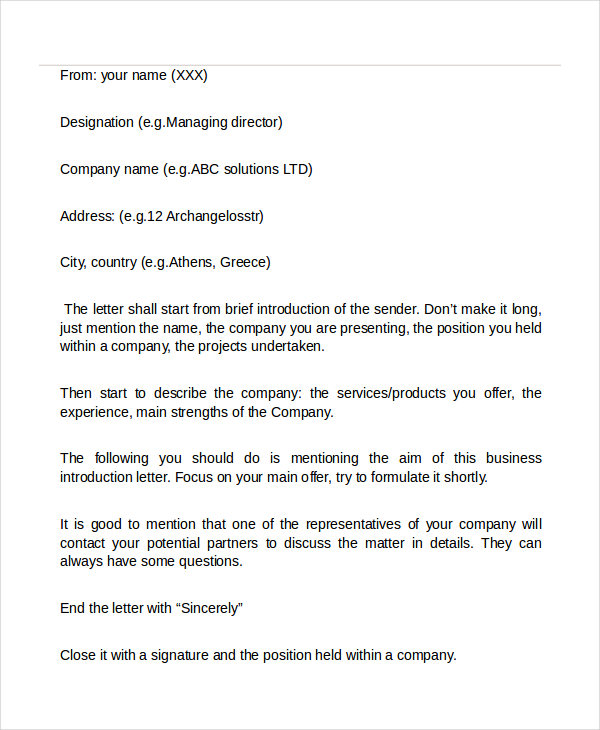 How To Make A Business Introduction Letter - Cover Letter Sample
