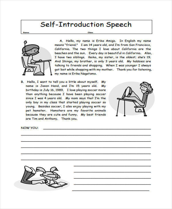 Introduction Speech Examples  Samples  Pdf