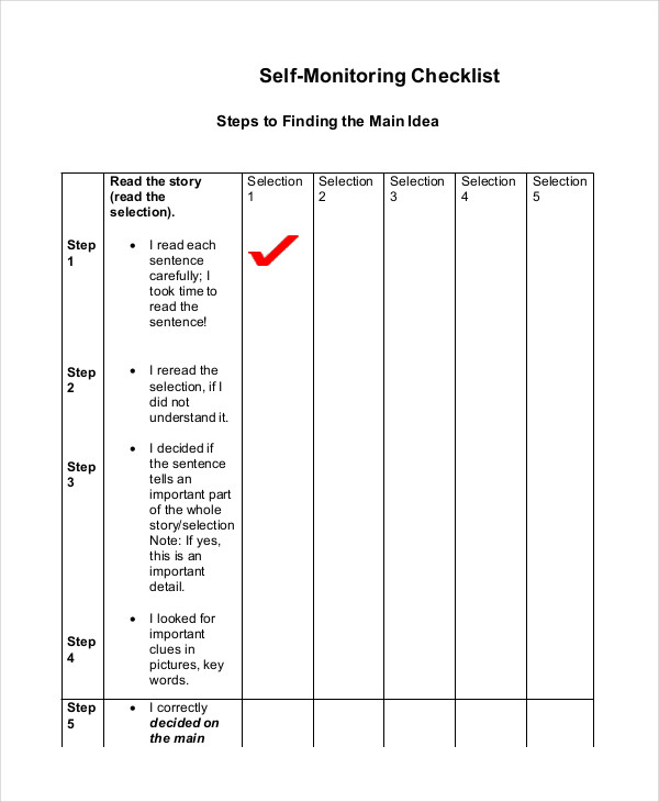self monitoring checklist1