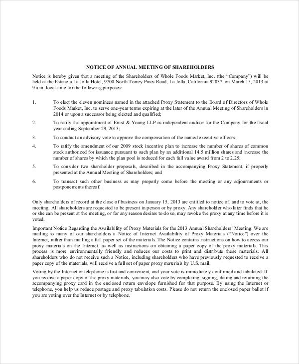 notice of meeting template