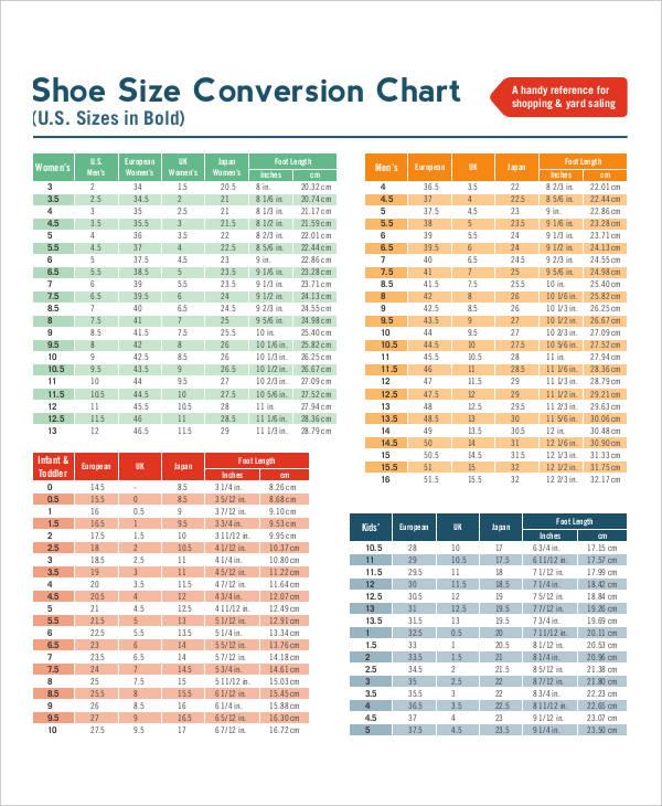 shoe chart