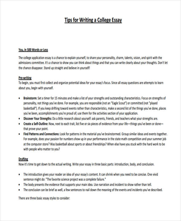 essay writing examples short college essay