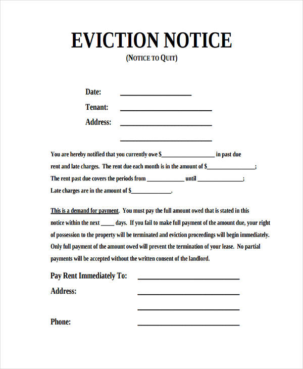 short eviction notice