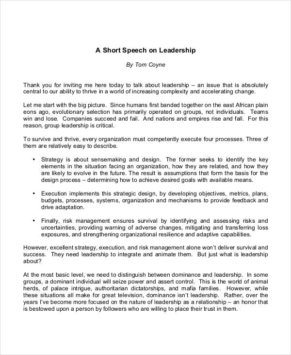 10+ Leadership Speech Examples & Samples - PDF | Examples