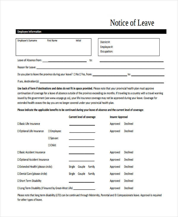 short leave notice1