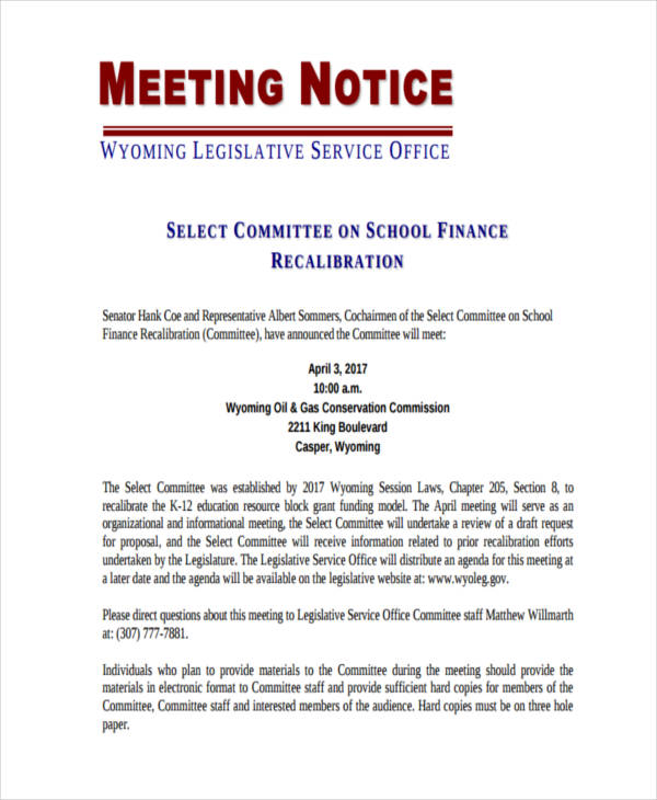 8 short notice examples samples for Notice of board meeting template