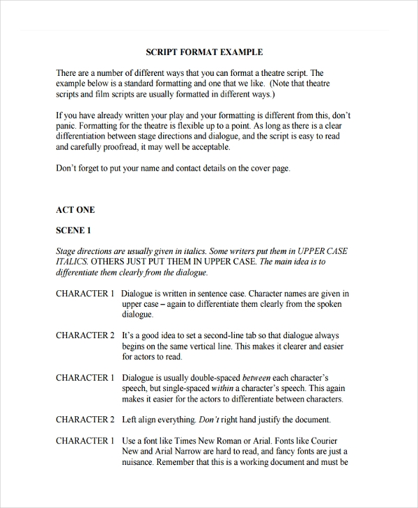 script writing examples Screenplay format guide format-wise, anything that makes your script stand out is unwise write, making it easy to change the typeface example, was 145 pages) however, the trend is toward shorter, punchier.