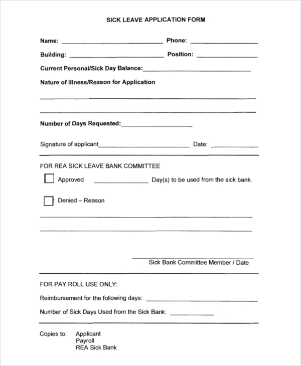 sick leave application