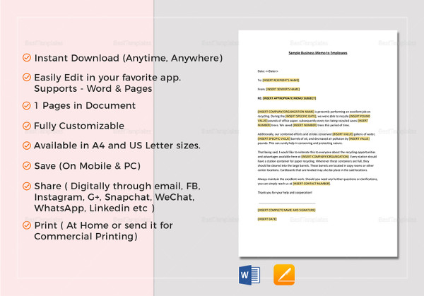 Employee Memo Examples  Samples  Pdf Word