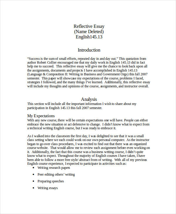 simple reflective essay - English Reflective Essay Example