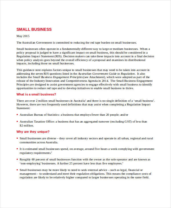 small business note