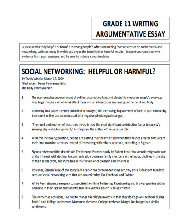 essay writing examples argumentative essay