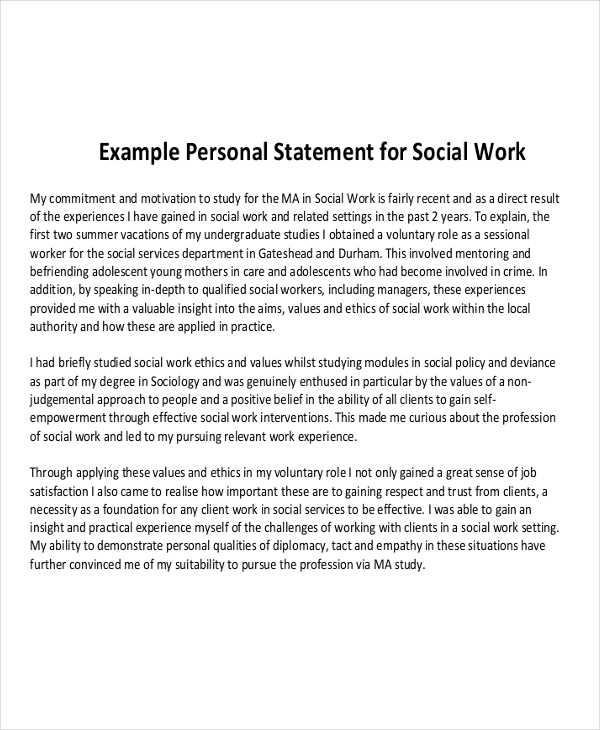 personal statement social worker job By 1915, the social work field included every job category from nurse to social reform legislator compassion fatigue, burnout, and self-care strategies former cps social worker barbara alvarez advises that you make self-care strategies the foundation of your social work course of study.