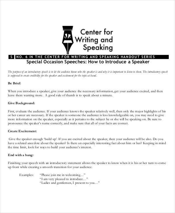 7+ Special Occasion Speech Examples, Samples