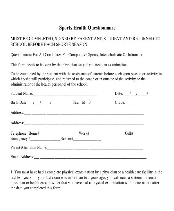 6 Sports Questionnaire Examples Samples