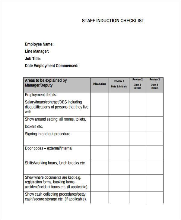 staff checklist