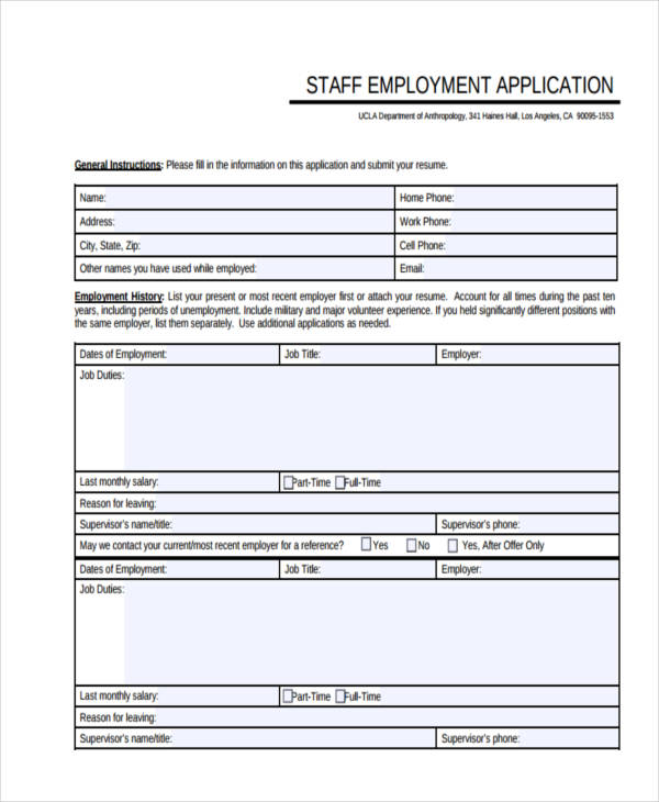 staff employment example