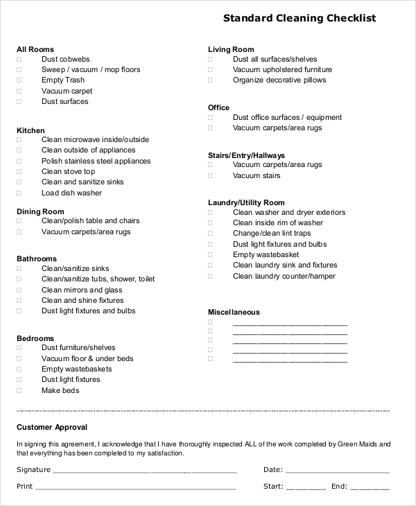 Cleaning Checklist Examples Samples