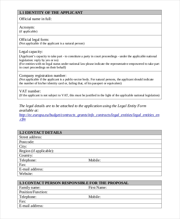 standard grant application