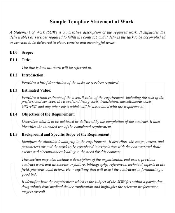 9 work statement examples samples for Statement of works template