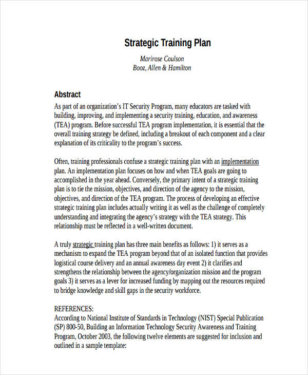 strategic training plan1