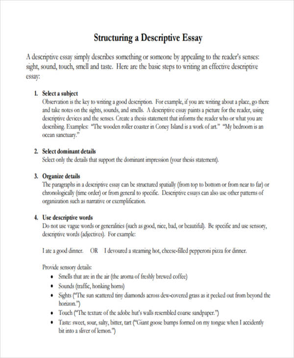 structuring descriptive essay
