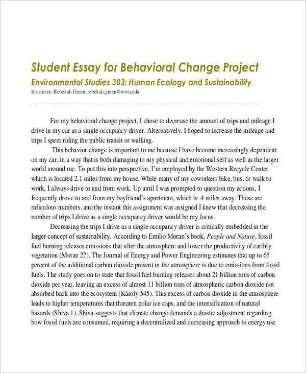 student essay samples student behavior example
