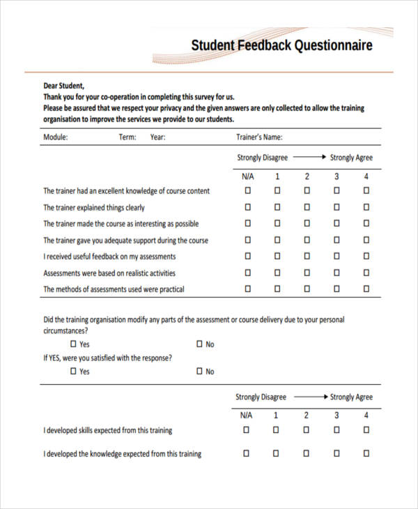 38 questionnaire templates examples for Template of a questionnaire