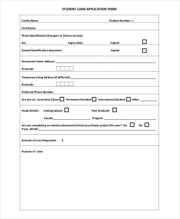11 loan application examples samples student loan application thecheapjerseys Image collections